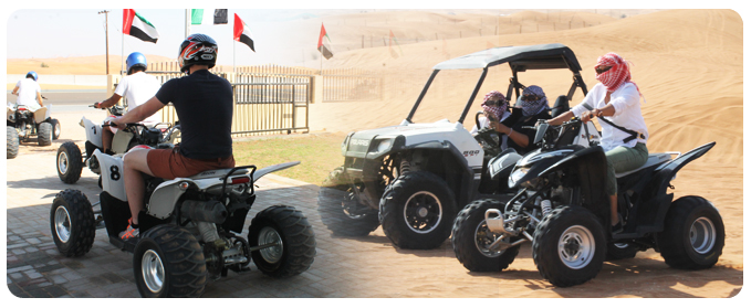 Quad bike tour Dubai adventure desert sand dune ATV safari packages, quad tour cost, group quad bike tour